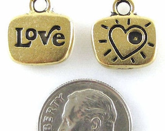 TierraCast Pewter Glue-In Crystal Charms-ANTIQUE GOLD LOVE (2)
