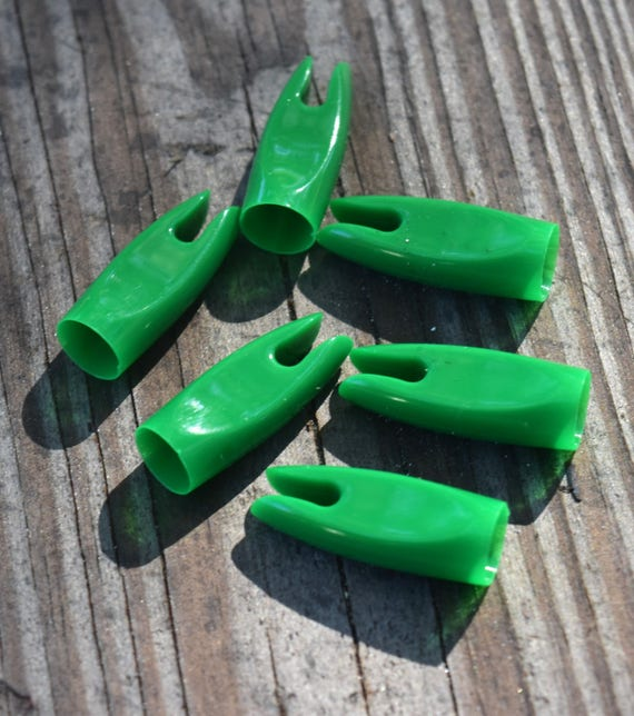 Arrow Nocks, 5/16 green plastic glue-on nocks set of 6, arrowmaking supplies