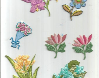 7 pc Light Blue Yellow Purple Pink Green Leaves Floral Flowers Roses Iron On Patch Applique 062416