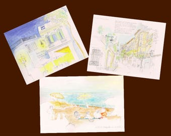 Set of 3 travel Spain + envelopes