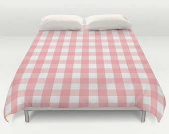 Box Check Coverlet, Pink Bedding, Queen King Full Twin, Size, Plaid Duvet Cover, Buffalo Check Duvet, Buffalo Pink Duvet, Pink Bedspread
