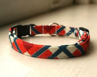 Plaid Cat Collar, Breakaway Cat Collar, Handmade Cat Collar, Cat Accessories, Boy Cat Collar, Designer Cat Collar, Navy & Orange Cat Collar
