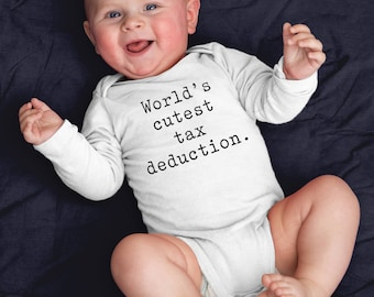 World's Cutes Tax Deduction - Funny Baby Boho - Infant Long Sleeve Bodysuit - Funny Onesies - Finance Theme Bodysuit - Accountant Husband