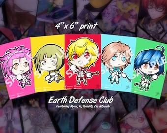 """Cute High Earth Defense Club 4""""x6"""" print"""
