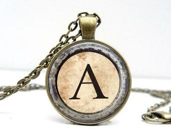 Typewriter Initial Necklace Glass Art Pendant Picture Pendant Photo Pendant