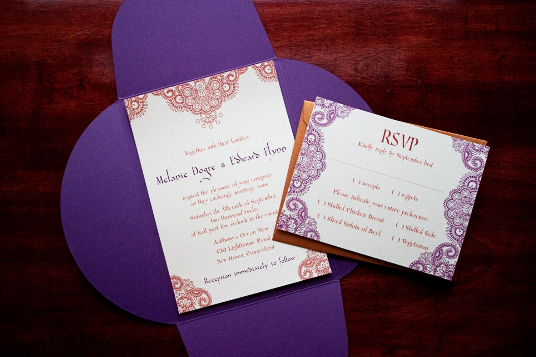 Henna Moroccan Wedding Invitation Sample Morocco