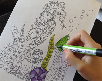 Adult Colouring Page, Paisley Seahorse