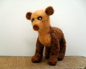 Needle felted bear, felted animal figure