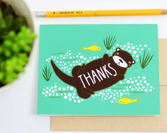 Thanks Otter Cards, Otter Thank You Cards, Otter Art, Otter Lover Cards, Gingiber Cards, Greeting Card, Blank Thank You Card