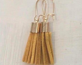 Mini Suede tassel earrings, Mustard