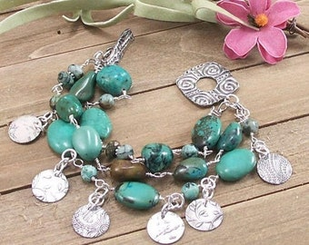 SALE: African Turquoise Sterling Silver 3 Strand Bracelet w/ PMC Metal Clay Sterling Silver Charms & Toggle