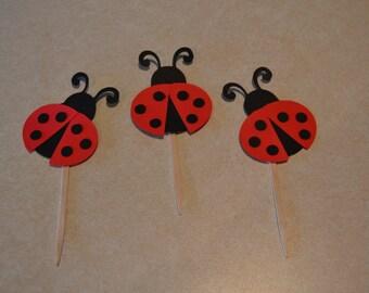 Ladybug Sparkle Cupcake Picks - Set of 12 - Birthday Party
