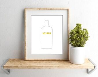Scotch Bottle Print // Bar Cart Art Print