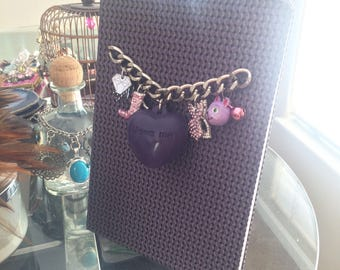 Charm Embellished Purple Journal