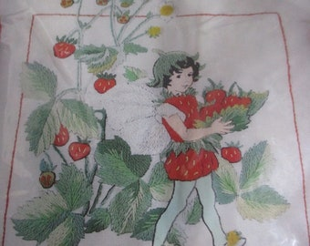 Crewel Embroidery Kit, Erica Wilson Signature Collection Kit, Crewel Pillow Kit, Strawberry Flower Fairy Kit, Fairy Crewel Embroidery Kit