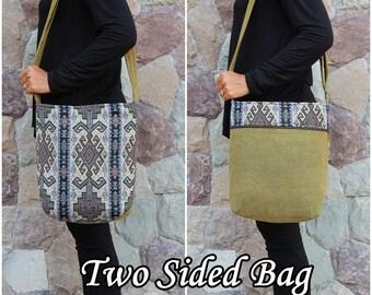 Green Mayan Aztec Crossbody Bag    Hobo Bag    Tribal Shoulder Bag   Sling Bag   Women's Cross body bag    Vegan Crossbody bag   Hippie Bag