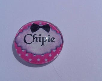 "Funny writing ""snips"" by 20 mm round domed cabochon"