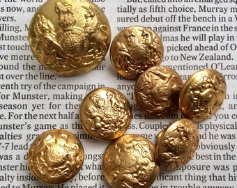 Antique Buttons, 8 Buttons, Old Military Buttons, Coat of Arms Buttons, Shank Buttons, British Buttons, Crested Buttons, Lion and Unicorn,