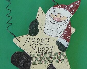Wood Santa Ornament Merry Merry