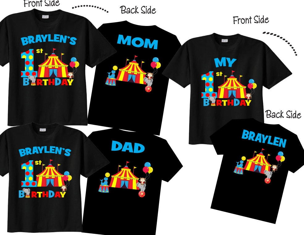 1st Birthday Shirts With Circus Family