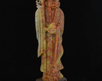 """Carved Soapstone Figure of Chinese Man with Fish 12"""""""