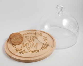 PERSONALISATION - glass dome lid and beechwood base.