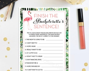 Finish The Bachelorette's Sentence - Bachelorette Party Game - Bachelorette Phrase - Bachelorette Game - Flamingo - Instant Download - DIY