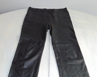 Vintage 90s Leather trousers High waist pants Womens pants Trousers black Soft leather pants Moto trousers Motorcycle pants Size M