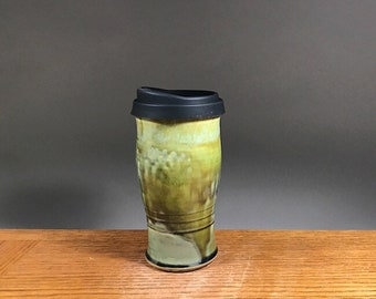 22 ounce To Go Mug , Handmade Pottery Travel  Mug With Lid , Ceramic Travel to Go Mug , Commuter Mug  , Eco Mug , Reusable Silicone Lid