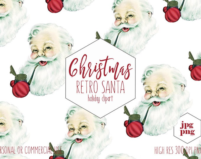 VINTAGE SANTA CLAUS Clipart for Commercial Use Christmas Clip Art Jolly Saint Nick Face with Pipe Fun Holiday Invitation Digital Graphics