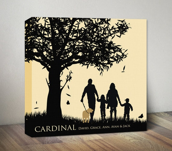 Family Tree Canvas Art Print Personalized Anniversary Gift