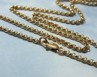 """36"""" Gold Chain, """"Heavy"""" 14k Gold Filled Chain, 2.3mm Rollo Chain with Lobster Claw Clasp-Pendent Chain, 14k Minimalist Gold Chain"""