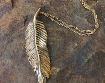 Sculpted bronze feather necklace