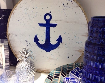 Anchor Wall Art, Nautical Design on Handpainted Timber Porthole  / Navy