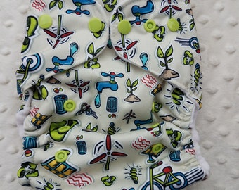 One Size, cloth diaper cover, fleece lined PUL with AI2 option, Go Green, earth day, eco power, mother earth
