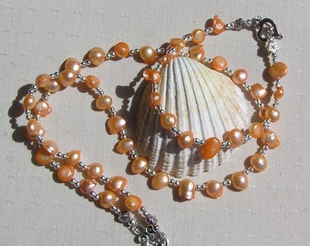 """Necklace & Bracelet Set, Apricot Freshwater Pearl and Sterling Silver """"Kashmir"""", Pearl Bracelet, Pearl Necklace, Pearl Twinset, Silver"""