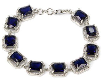 """Sterling Silver Deep Blue Tanzanite Gemstone Bracelet With AAA CZ Accents 7-9"""""""