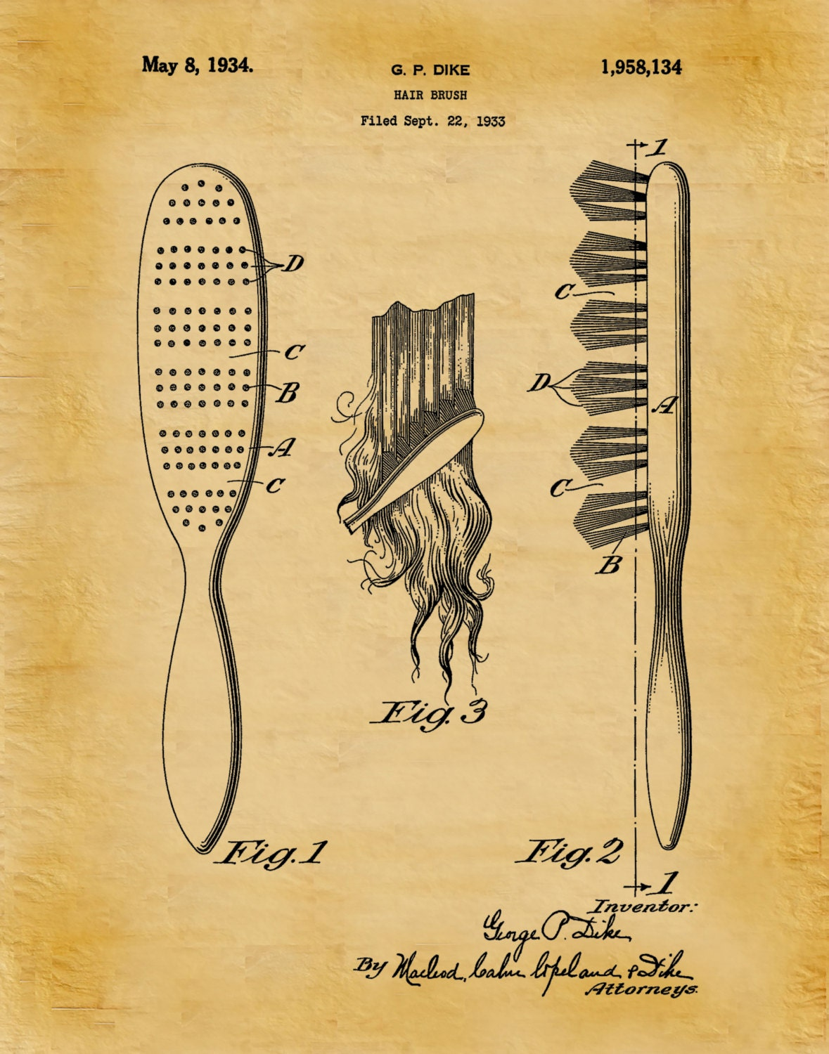 Patent 1934 Hair Brush - Art Print - Poster - Barber Shop Art - Hair ...