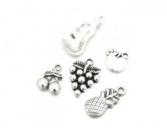 25 charms fruit 5 matte silver patterns