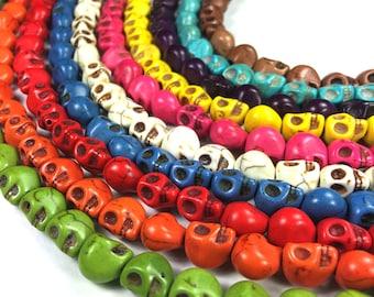 """Skull Beads Howlite Full 15"""" Strand 40pcs 9mm"""