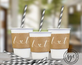 Monogram Heart Wedding Cup Sleeves | Paper Cup Sleeves | Coffee Sleeves | Hot Beverage Sleeves | Bride Groom Favors | social graces and co.