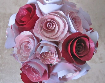 blush pink and red paper flower bouquet