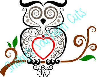 Swirl Owl on Branch - Colored & BW solid - SVG