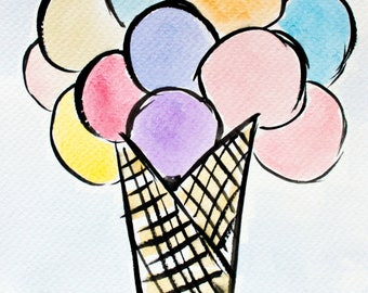 Ice Cream Watercolor Pastel Painting