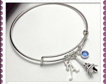 Personalized Eiffel Tower Bracelet, Eiffel Tower Bangle Bracelet, French Gifts, Eiffel Tower Gifts, French Bracelet, French Bangle Jewelry