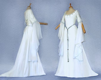 Elfenhaftes dress wedding dress SANITA Ivory + silver dress Medieval elf Eowyn Galadriel
