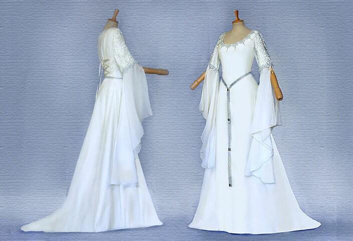 Elfenhaftes dress wedding dress SAMINA Ivory silver dress