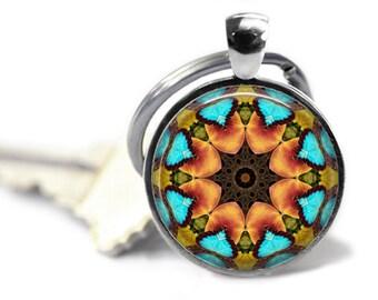 Mandala Keyring, Kaleidoscope Keyring, Mandala Art, Boho Keyring, Keyring with Swivel Clasp, Tote Bag Clip, Purse Clip, Yoga Mat Bag Clip