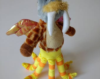 "Custom Stuffed Animal, Stuffed Monster, Stuffed Animal Monster, Toy, Unique, Stuffie, Plushie ~ ""Lew"""