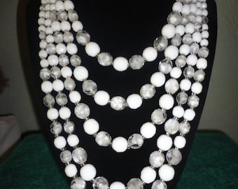 Vintage Gorgeous Round Faceted Frosted Glass Necklace.